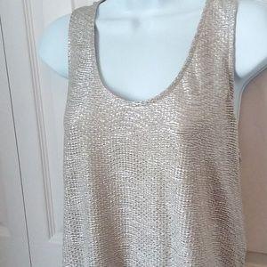 Gold shimmer tank tunic razor long blouse